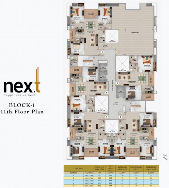 next Tower 1 Cluster Plan from 11th to 12th Floor