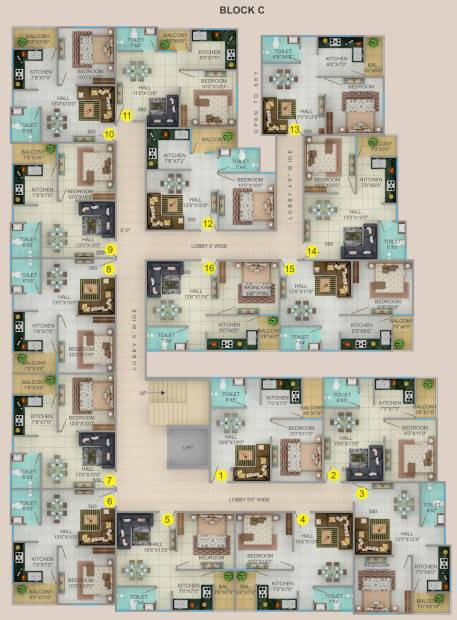 shanti-niwas Block C Typical Cluster Plan