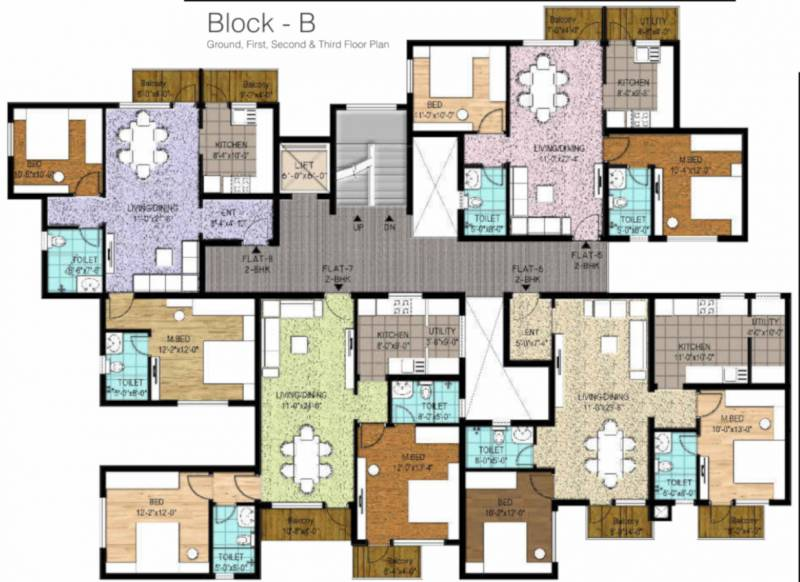 pristine Block B Typical Cluster Plan From 1st to 4th Floor