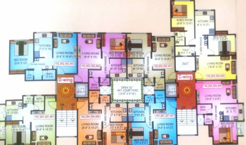 city-pride-majenta Majenta C And D Wing Cluster Plan From 1st To 4th Floor
