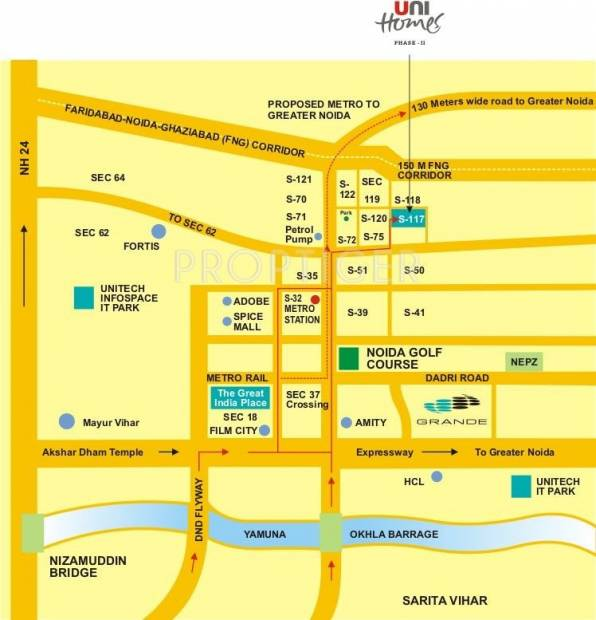unihomes-2 Images for Location Plan of Unitech Unihomes 2