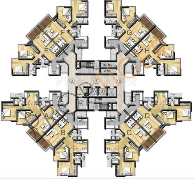 2 3 bhk cluster plan image kasturi housing eon homes for Cluster house plans