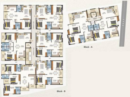 ramaiah-arcader A And B  Cluster Plan from 1st to 4th Floor