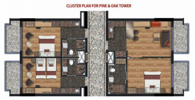 pine-and-oak-studio Cluster Plan For Typical Floor