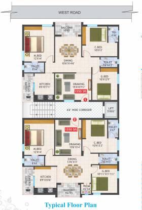 aditya-residency Aditya Residency Cluster Plan For Typical Floor