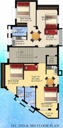 shree-gourik-apartment Shree Gourik Apartment Cluster Plan From 1st To 3rd Floor