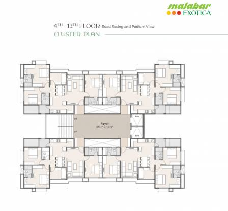 malabar-exotica A to D Cluster Plan from 4th to 13th Floor