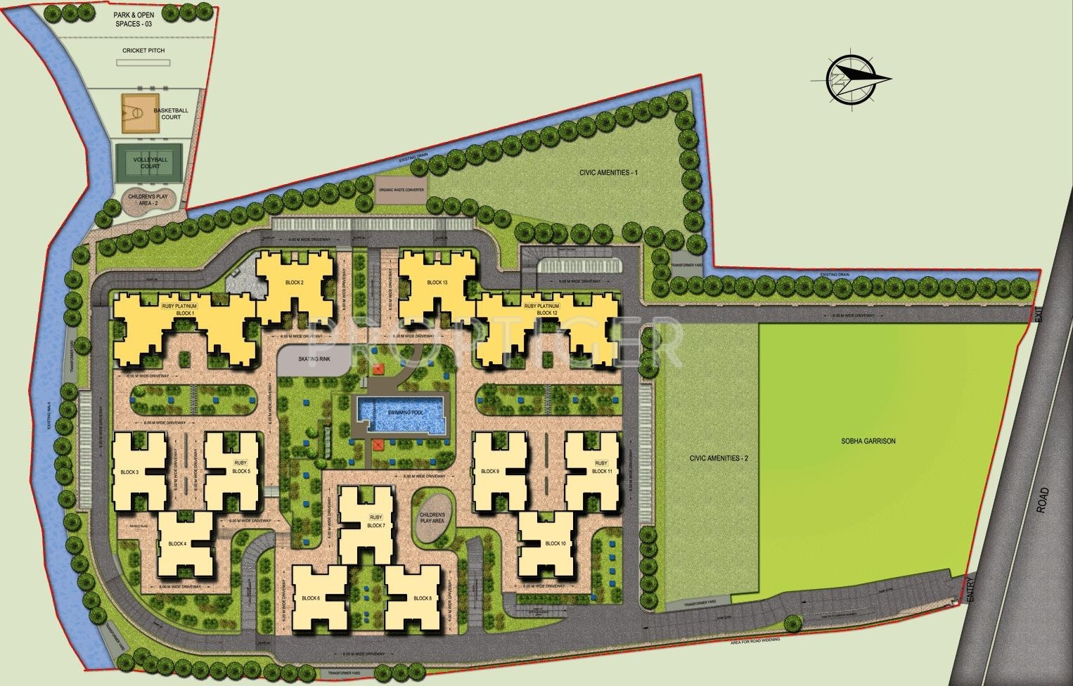 1260 sq ft 2 bhk 2t apartment for sale in sobha limited for Plan of a flat