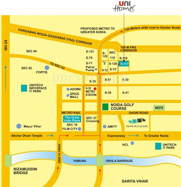 unihomes Images for Location Plan of Unitech Unihomes