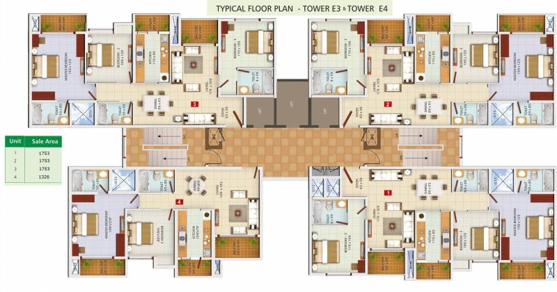 1 2 3 4 Bhk Cluster Plan Image Ozone Group Greens For