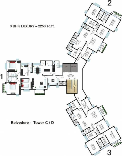 2 3 bhk cluster plan image godrej properties garden for Apartment cluster plans