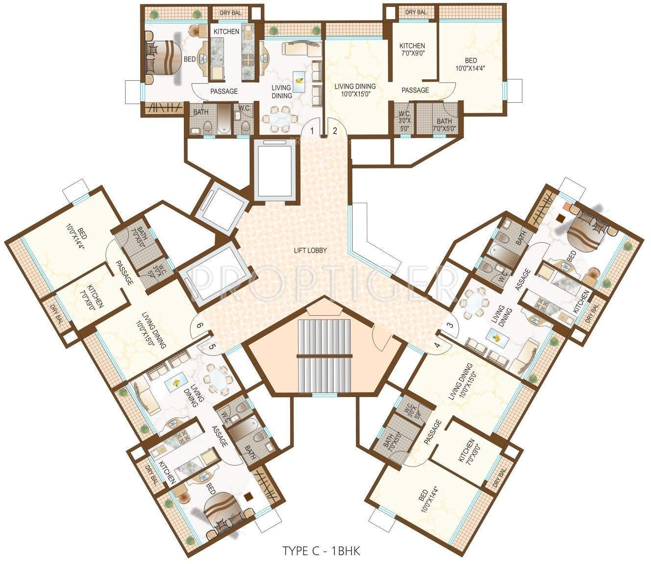 710 sq ft 1 bhk 1t apartment for sale in dynamix group for Apartment cluster plans