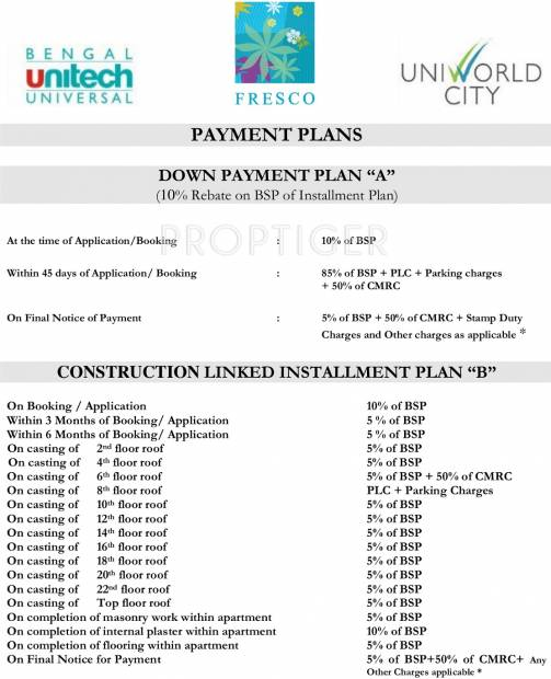 Images for Payment Plan of Unitech Fresco