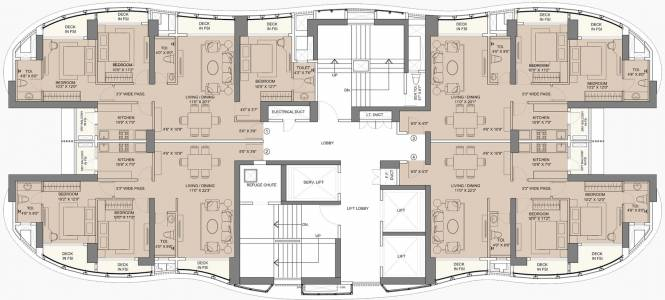 city-avenue-1 Tower A Cluster Plan For Cl 7, 14, 21, 28, 35 Floor