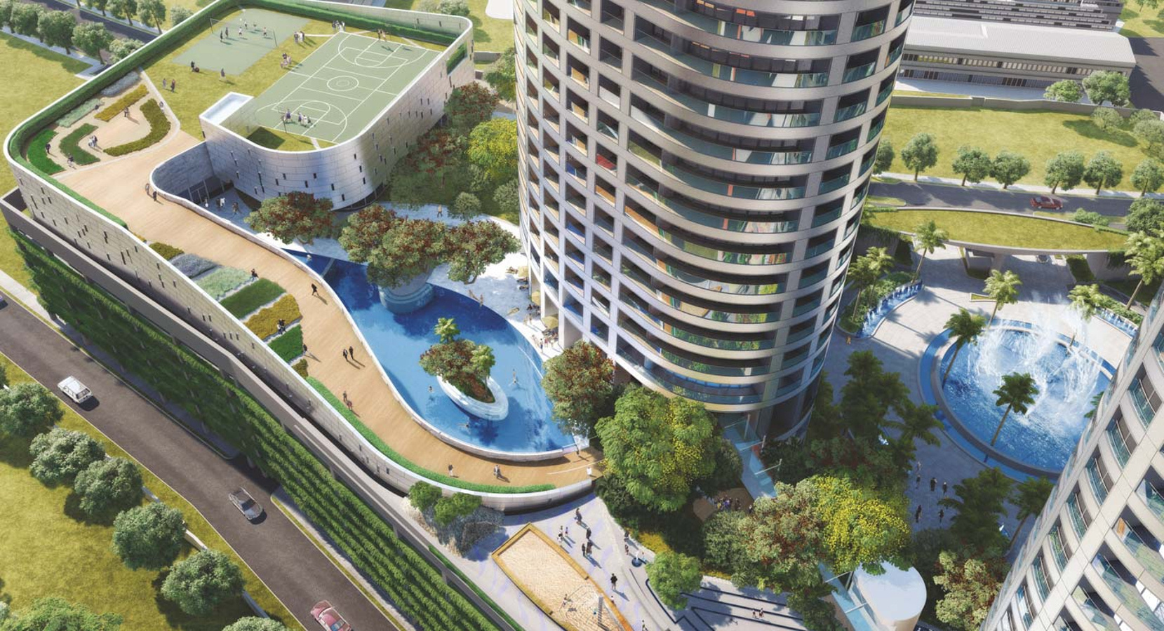 Main elevation image 3 of lodha group world crest unit - Swimming pool construction cost in hyderabad ...