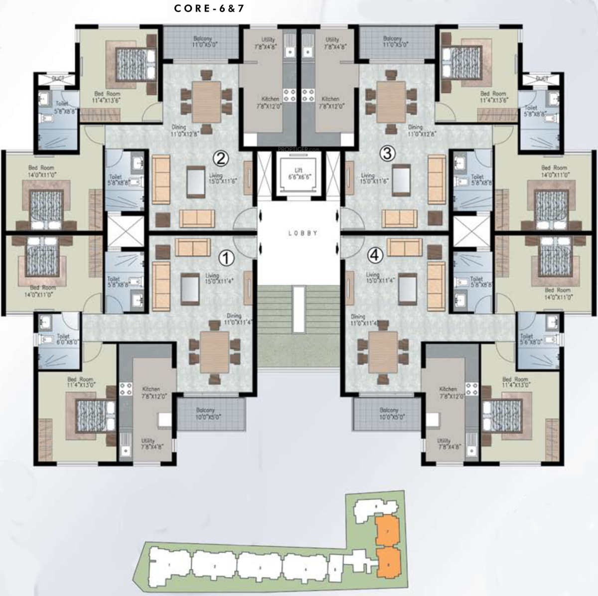 1740 sq ft 3 bhk 3t apartment for sale in prestige group for Apartment cluster plans