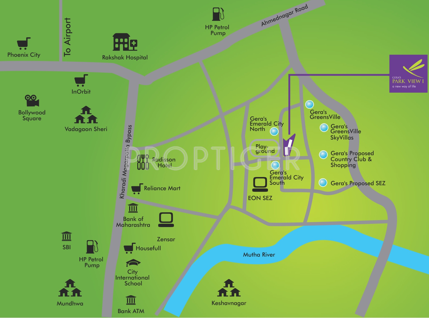 Image of Location Map of Gera Developments Park View Kharadi Pune