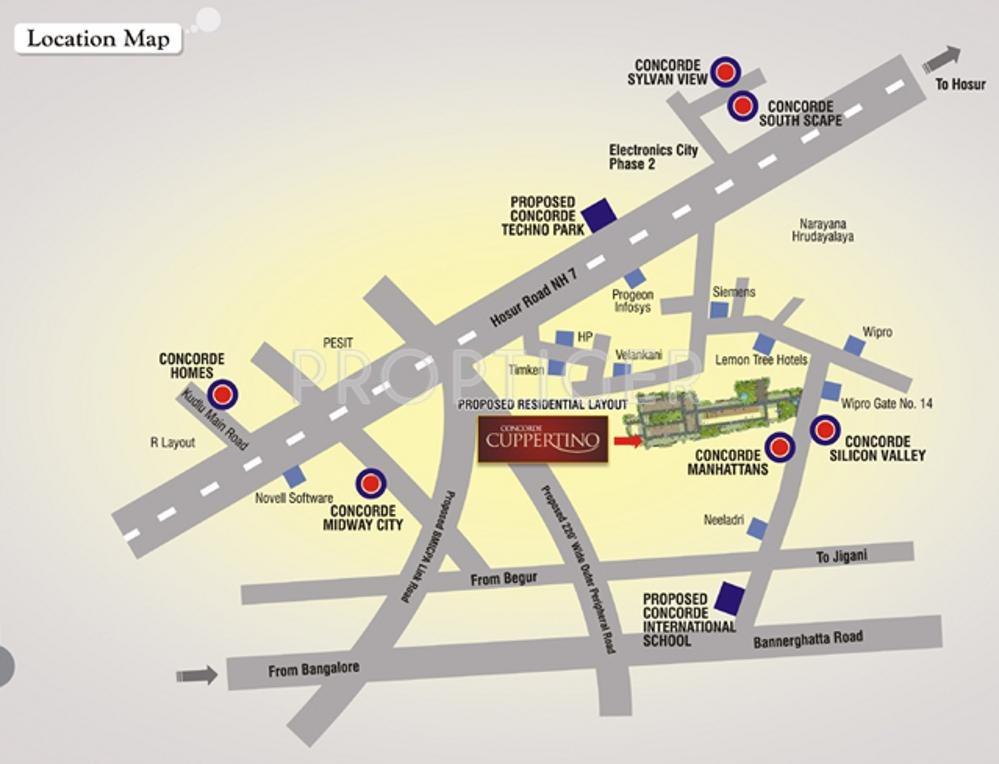Electronic City Bangalore Map Concorde Silicon Valley in Electronic City Phase 1, Bangalore