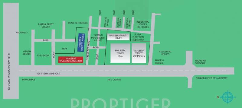 Image of Location Map of Manjeera Majestic Homes Kukatpally – Majestic Homes Floor Plans
