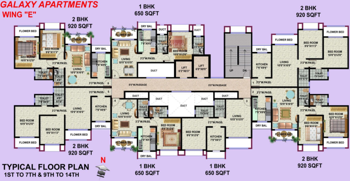 650 sq ft 1 BHK 2T Apartment for Sale in HDIL Galaxy ...