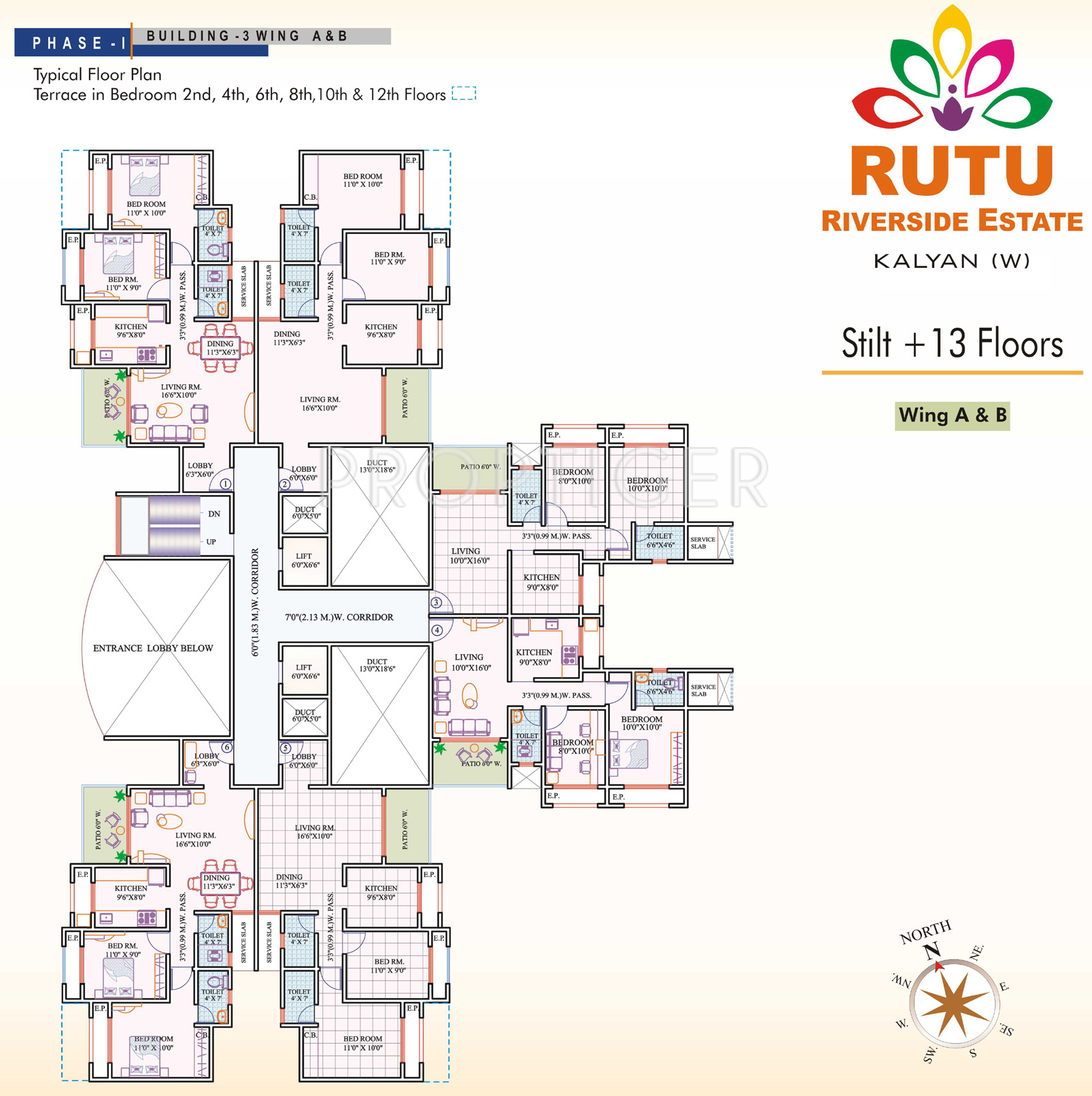 1 2 bhk building 3 cluster plan from 1st to 13th floor for 13th floor in buildings