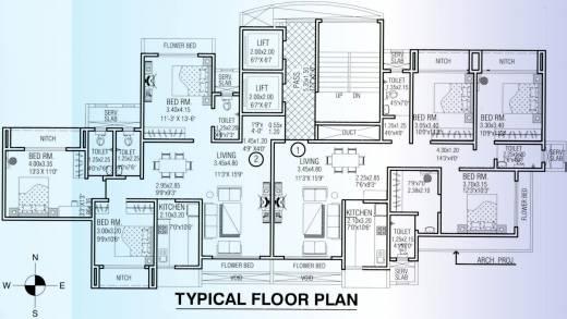 1580 sq ft 3 bhk 3t apartment for sale in ajmera krishna for 13th floor design