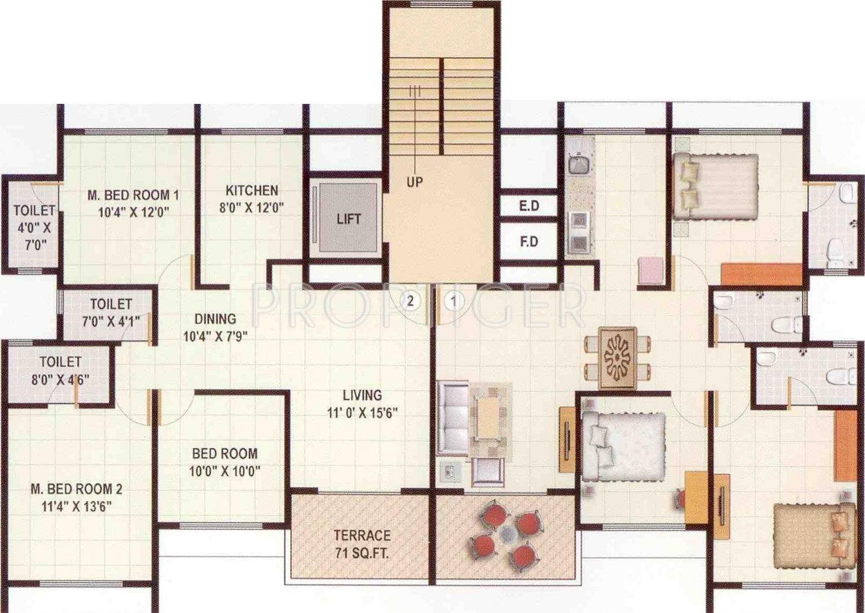 720 sq ft 1 bhk 2t apartment for sale in super sai nagar for 720 sq ft apartment floor plan