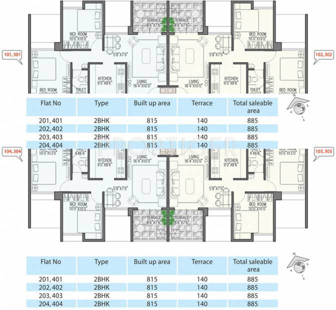 viniyog-realtors waterfront Wing B Even Floor Cluster Plan