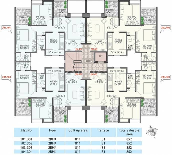 viniyog-realtors waterfront Wing B Odd Floor Cluster Plan