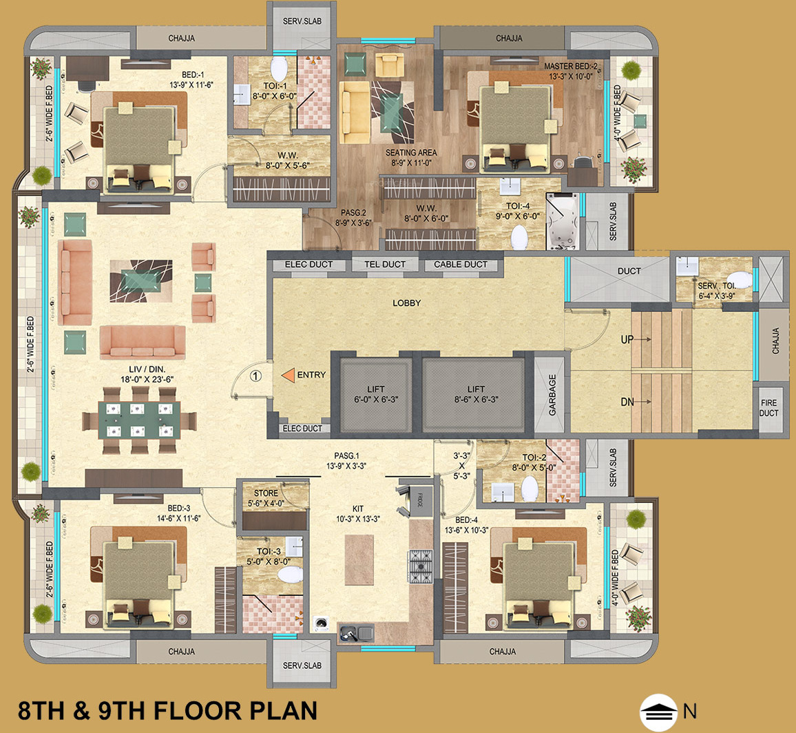 3000 sq ft 4 bhk 4t apartment for sale in mayfair housing for Apartment floor plans 3000 sq ft