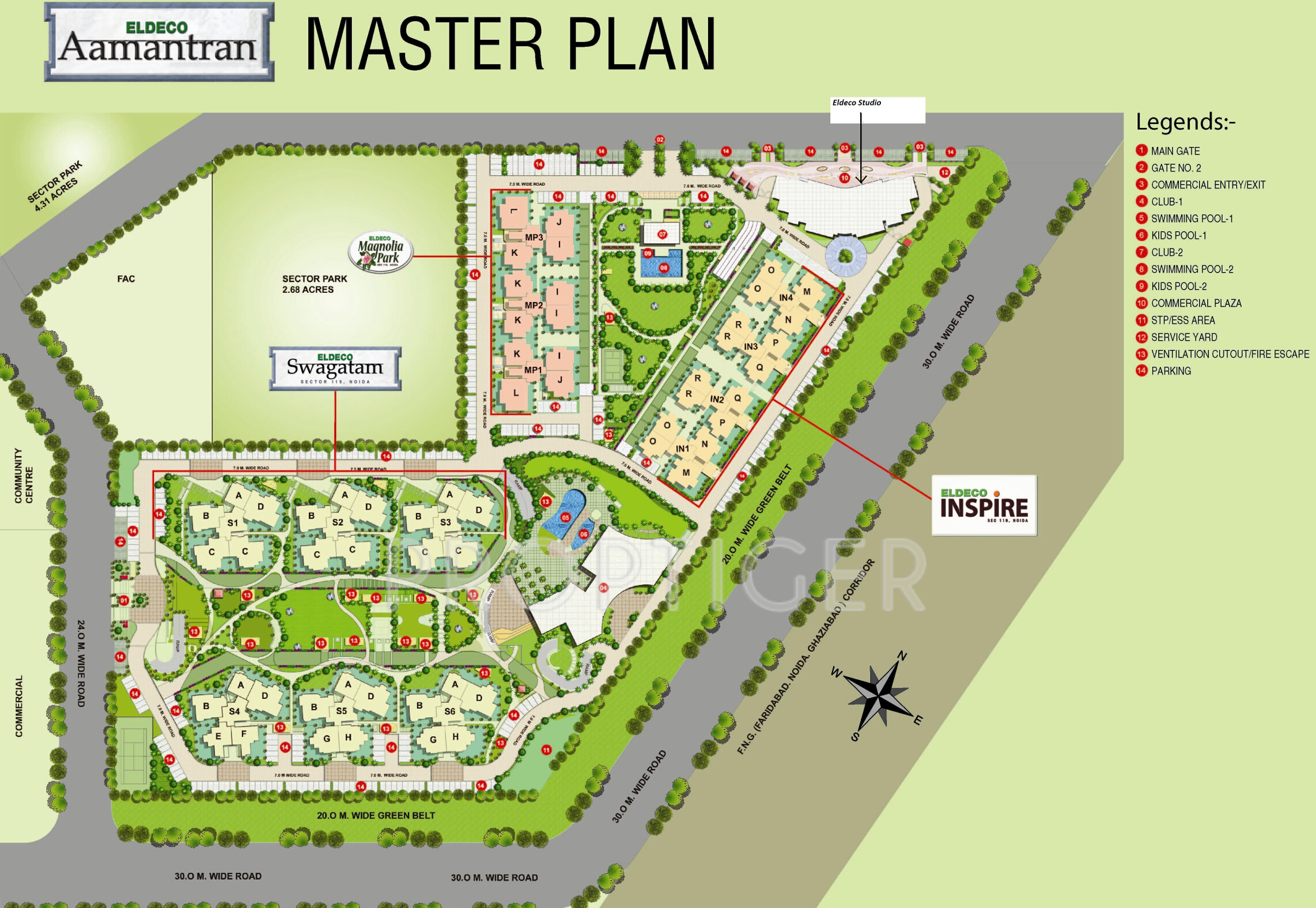 1375 sq ft 2 bhk 2t apartment for sale in eldeco group for Apartment master plans