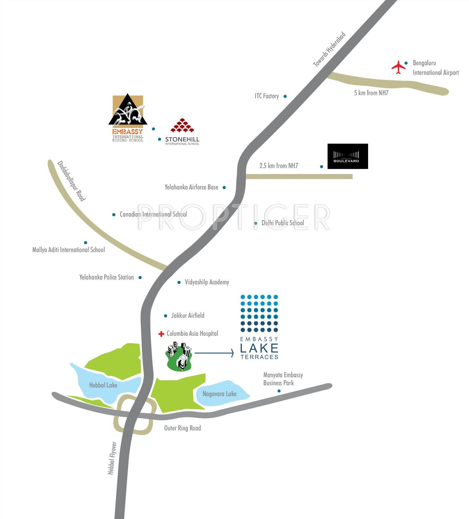 Embassy Lake Terrace In Hebbal Bangalore Price Location Map - Us embassy location map