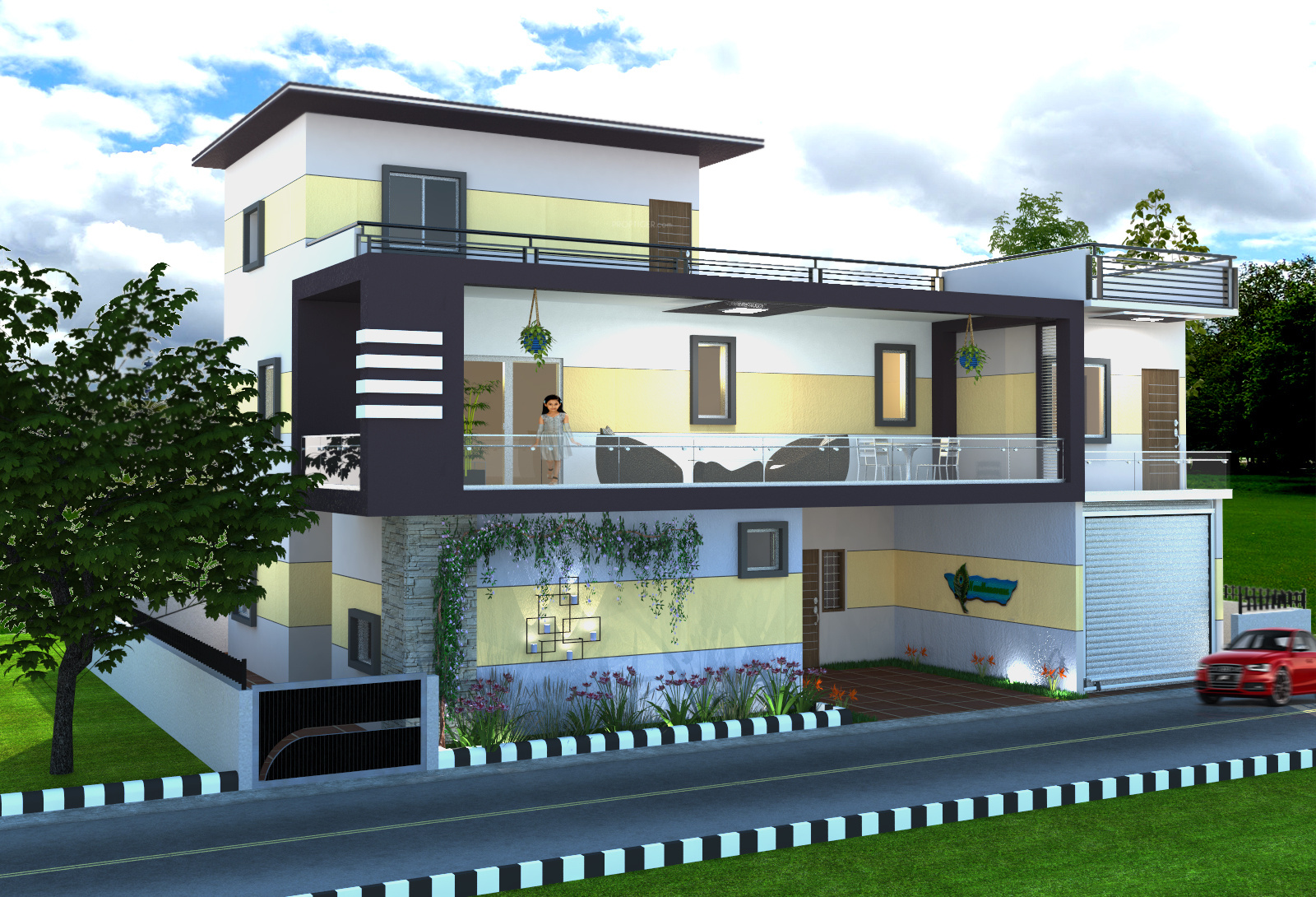 3600 sq ft 4 bhk 4t villa for sale in home land developers for Villa elevation photos