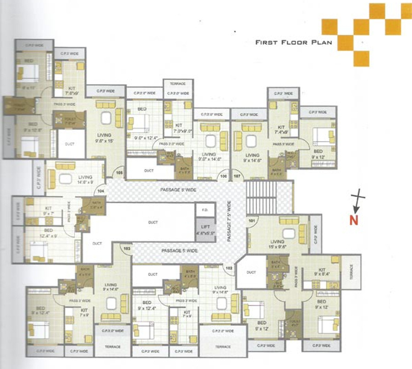 675 sq ft 1 bhk 1t apartment for sale in divya shakti for 675 sq ft floor plan