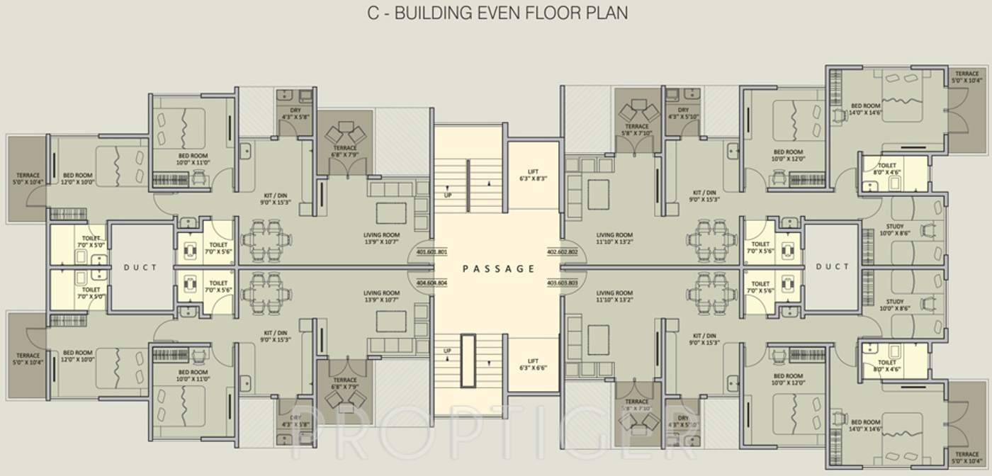 765 sq ft 1 bhk 1t apartment for sale in rainbow housing for Urban floor plans