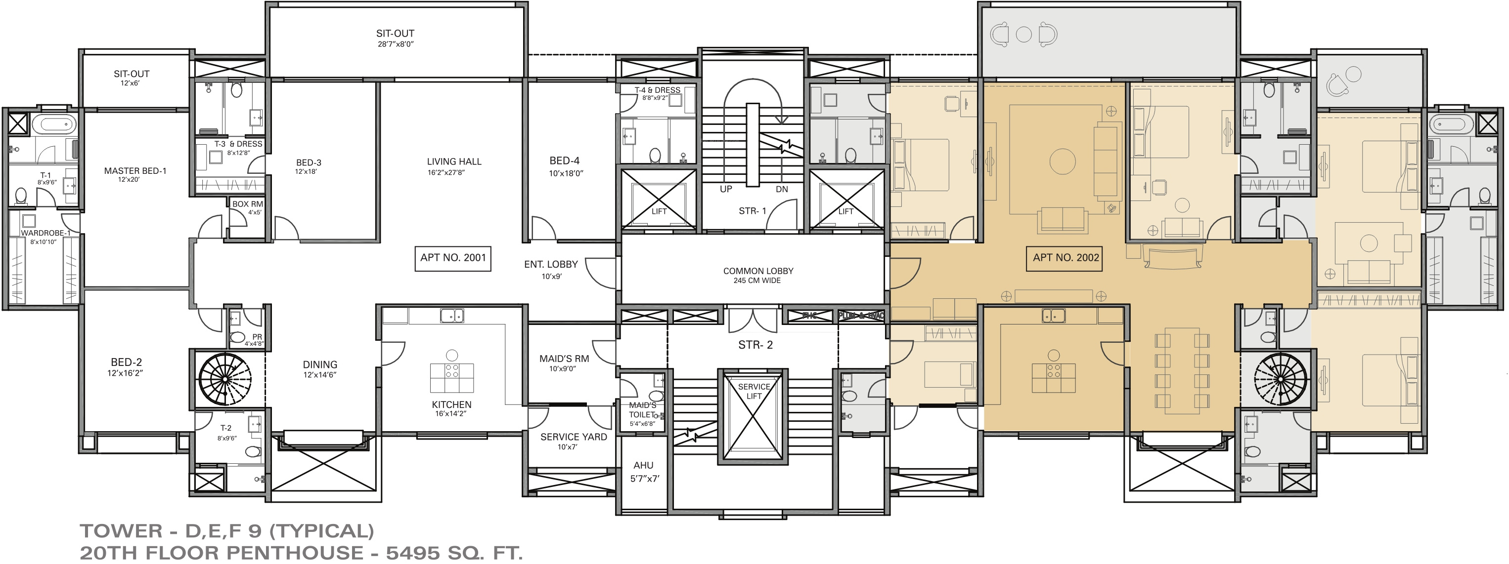 5375 sq ft 4 bhk 5t apartment for sale in panchshil realty for Waterfront floor plans