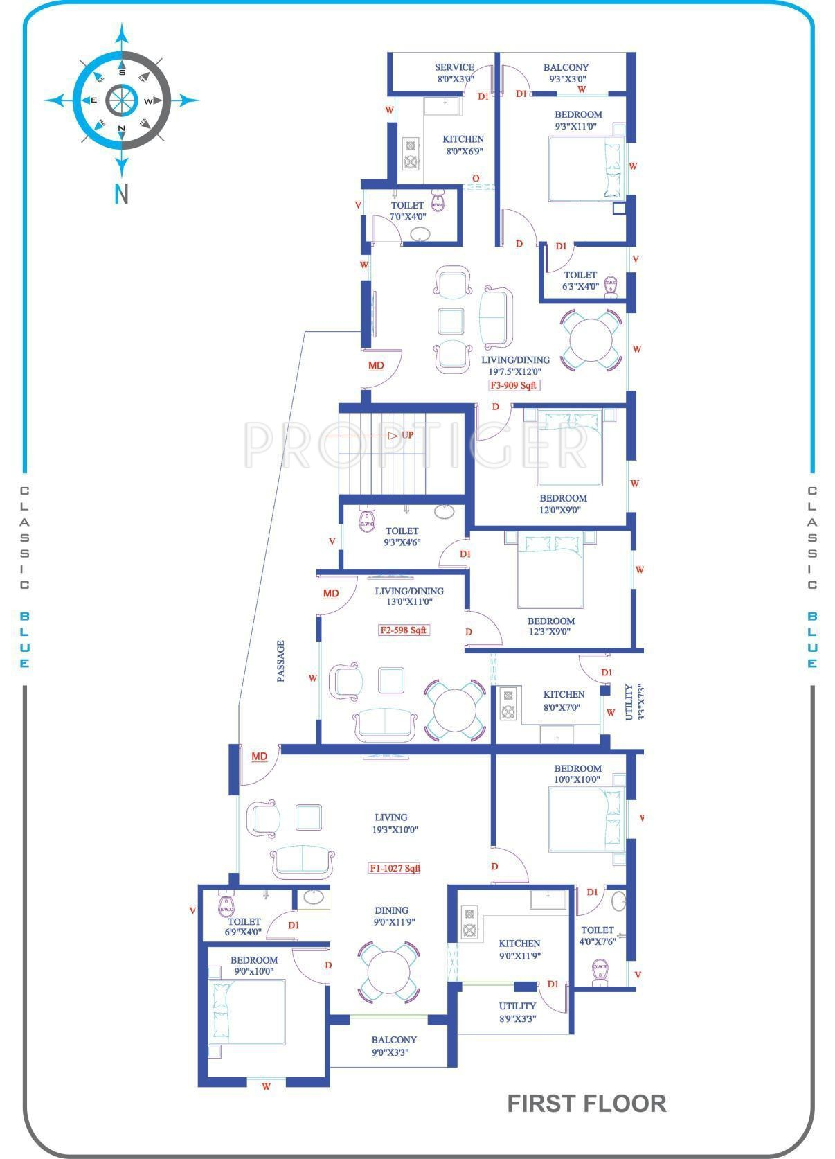1027 sq ft 2 bhk 2t apartment for sale in yashva classic for Classic home floor plans