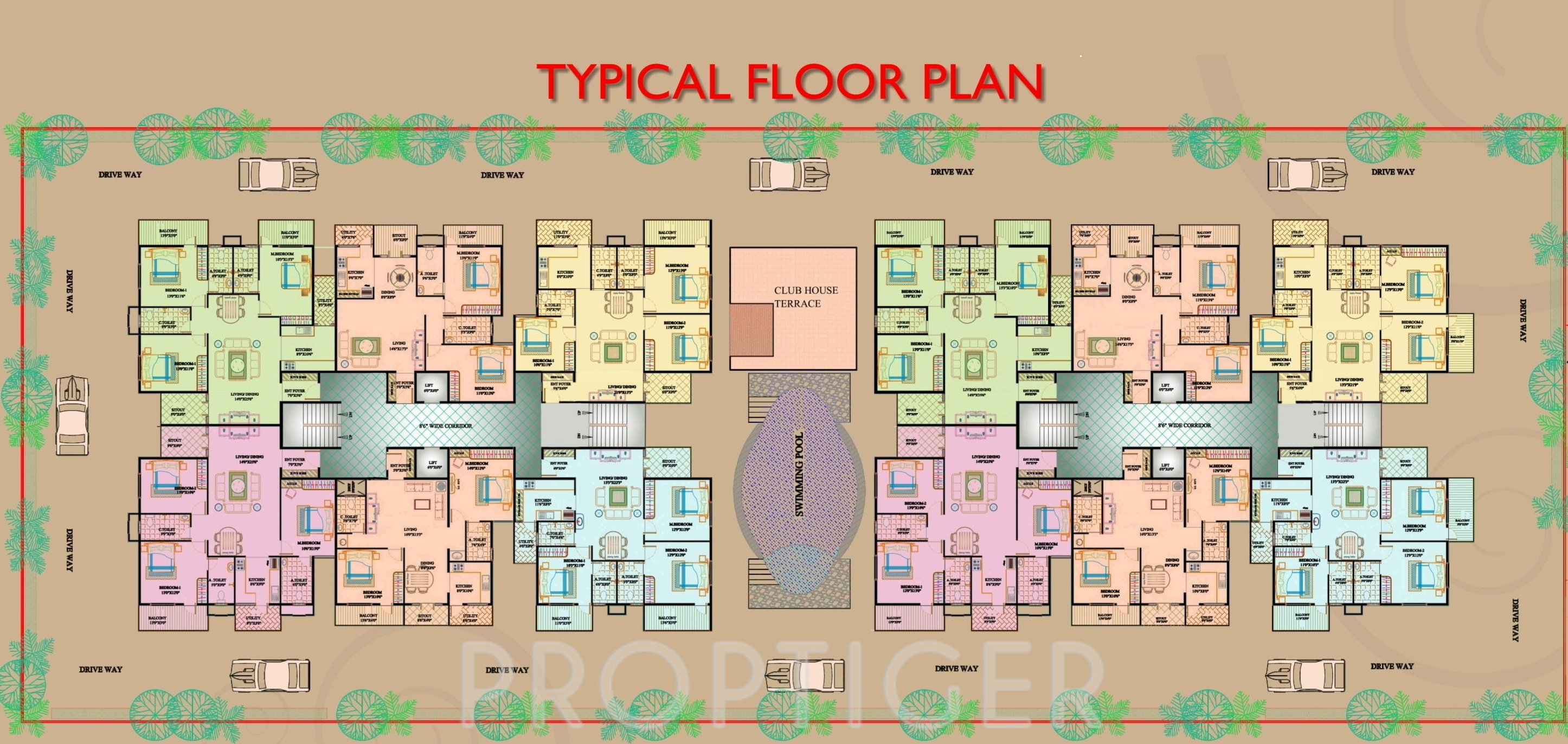 1510 sq ft 3 bhk 3t apartment for sale in kpr realty elite for Apartment cluster plans