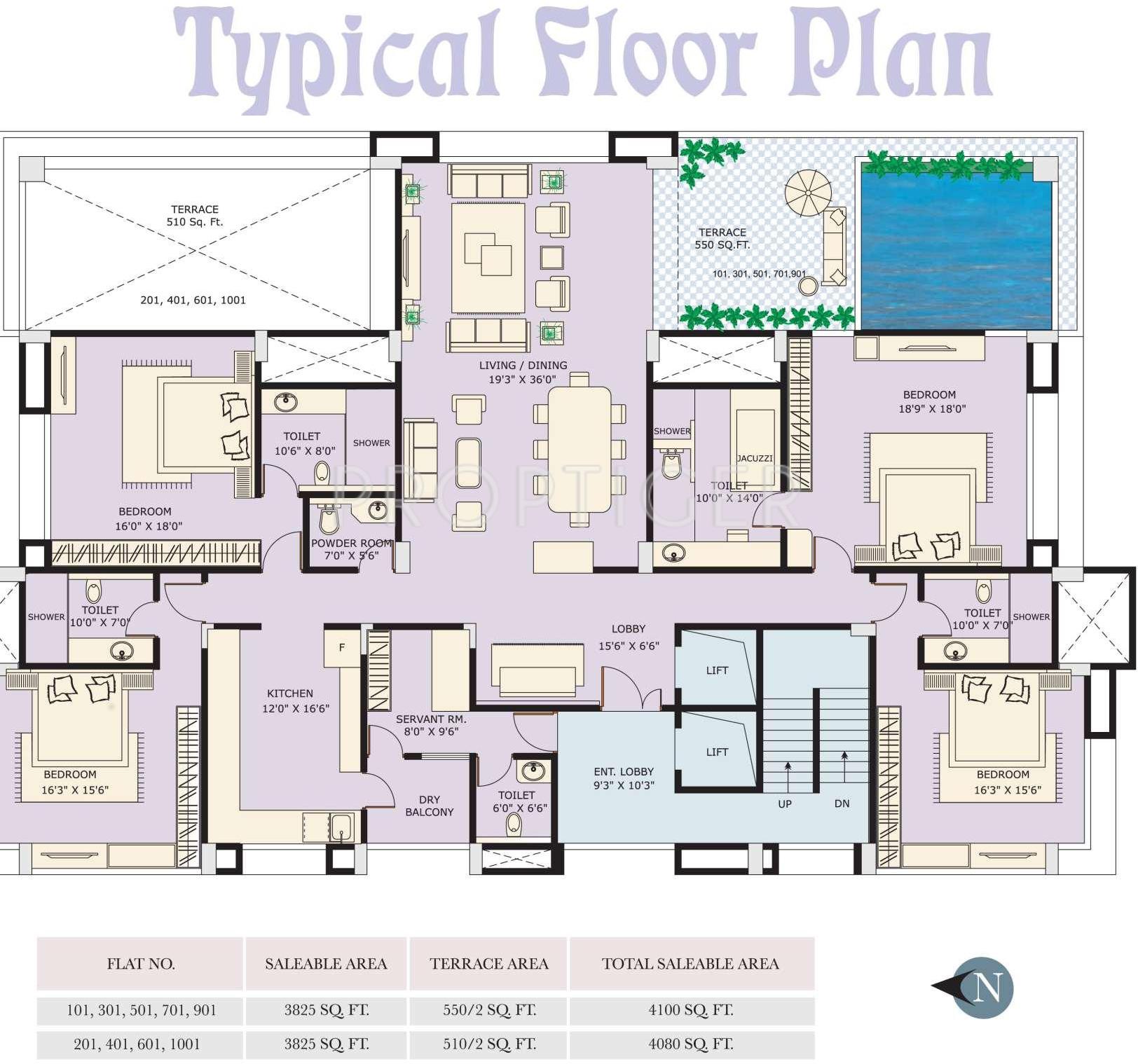 Apartment Realtors: 2500 Sq Ft 3 BHK 3T Apartment For Sale In Marvel Realtors