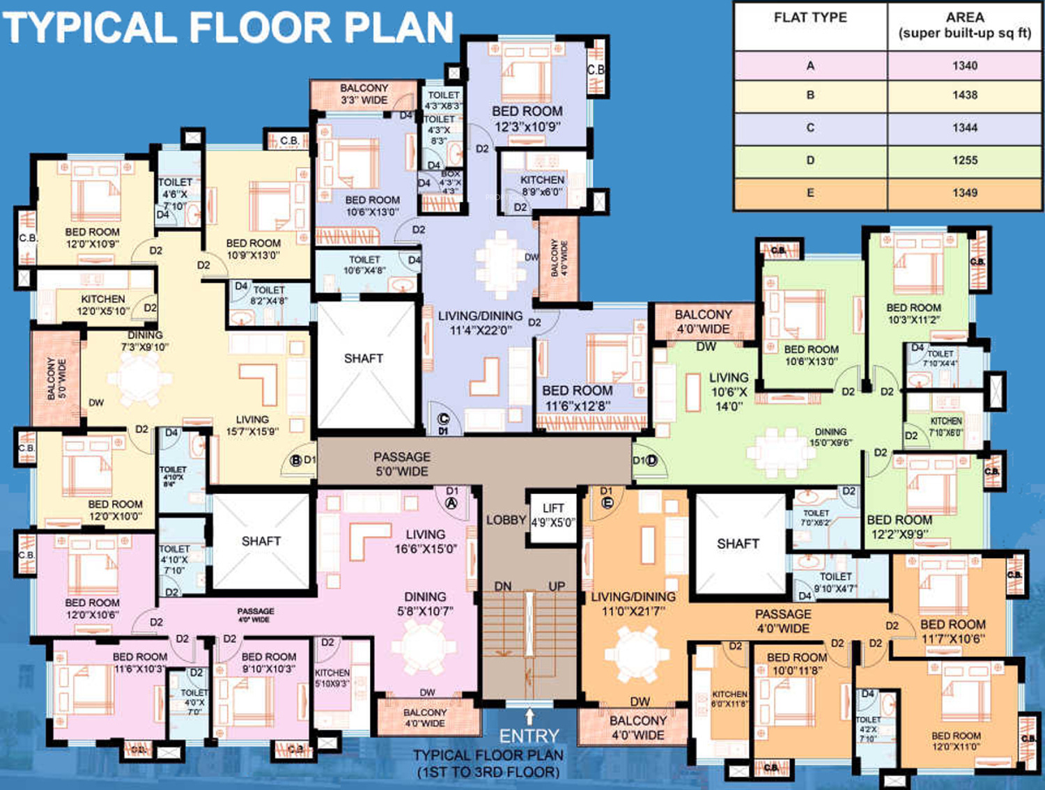 1344 sq ft 3 bhk 2t apartment for sale in webstar for X2 residency floor plan
