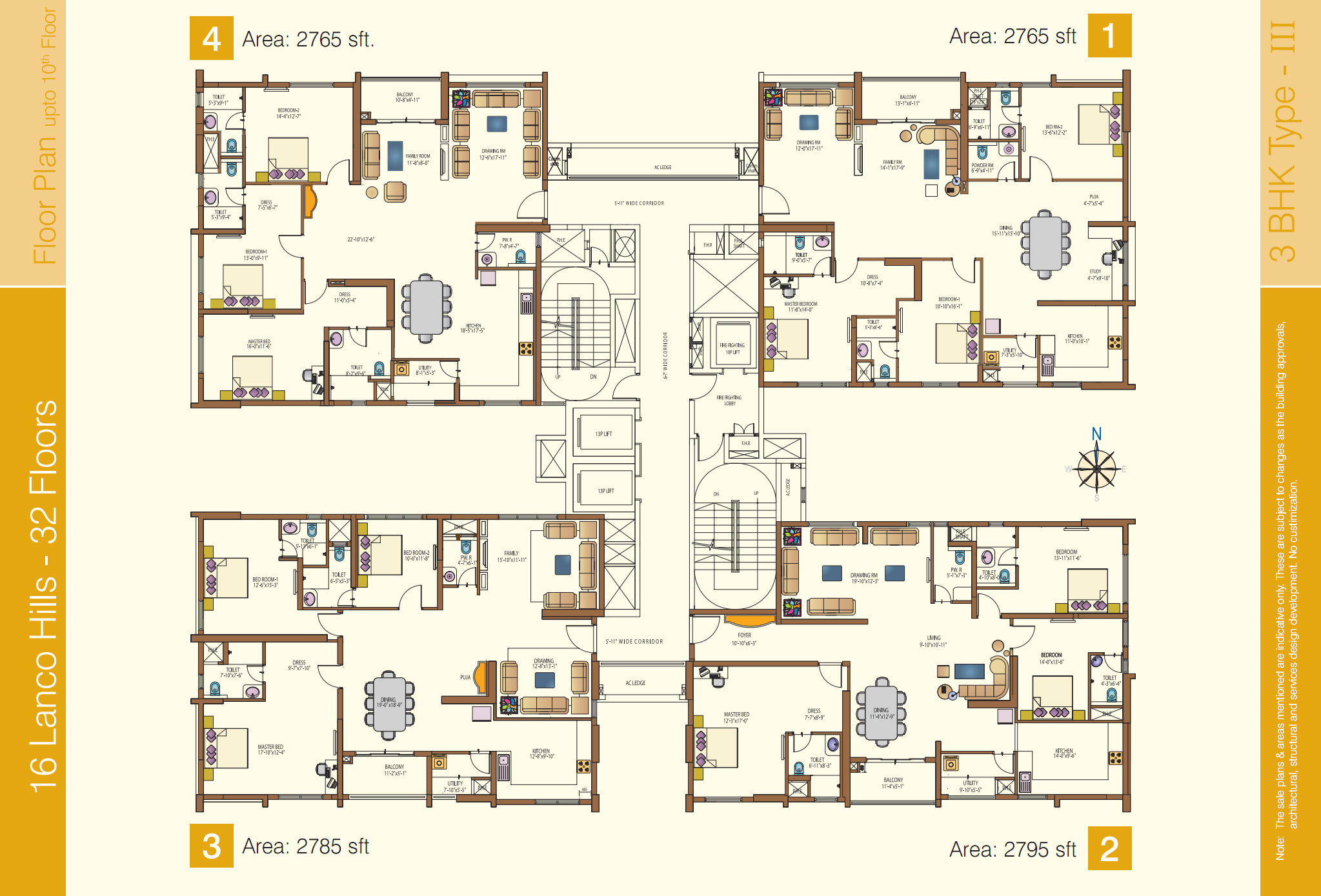 3659 sq ft 4 bhk 5t apartment for sale in lanco hills for Apartment plans hyderabad