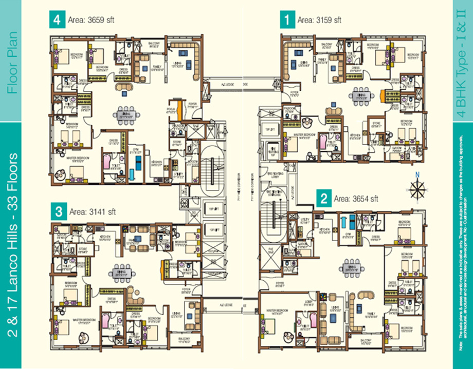 1570 sq ft 3 bhk 3t apartment for sale in lanco hills for Apartment cluster plans