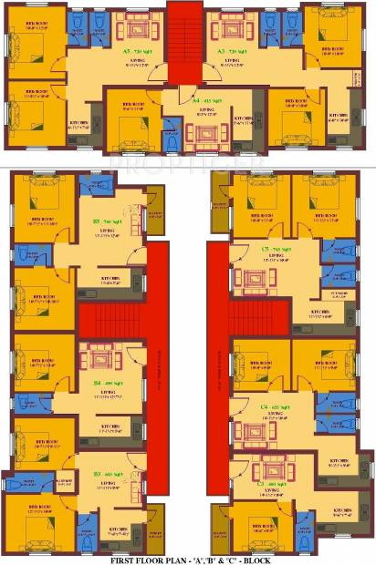 ua-foundation arunachalam Block A, B & C Cluster Plan for 1st Floor