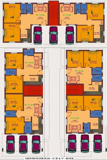 ua-foundation arunachalam Block A, B & C Cluster Plan for Ground Floor