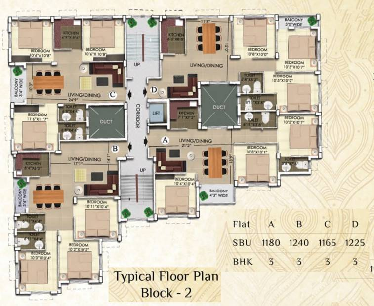 2 3 bhk cluster plan image rajwada group nirvana for for Jmc homes floor plans