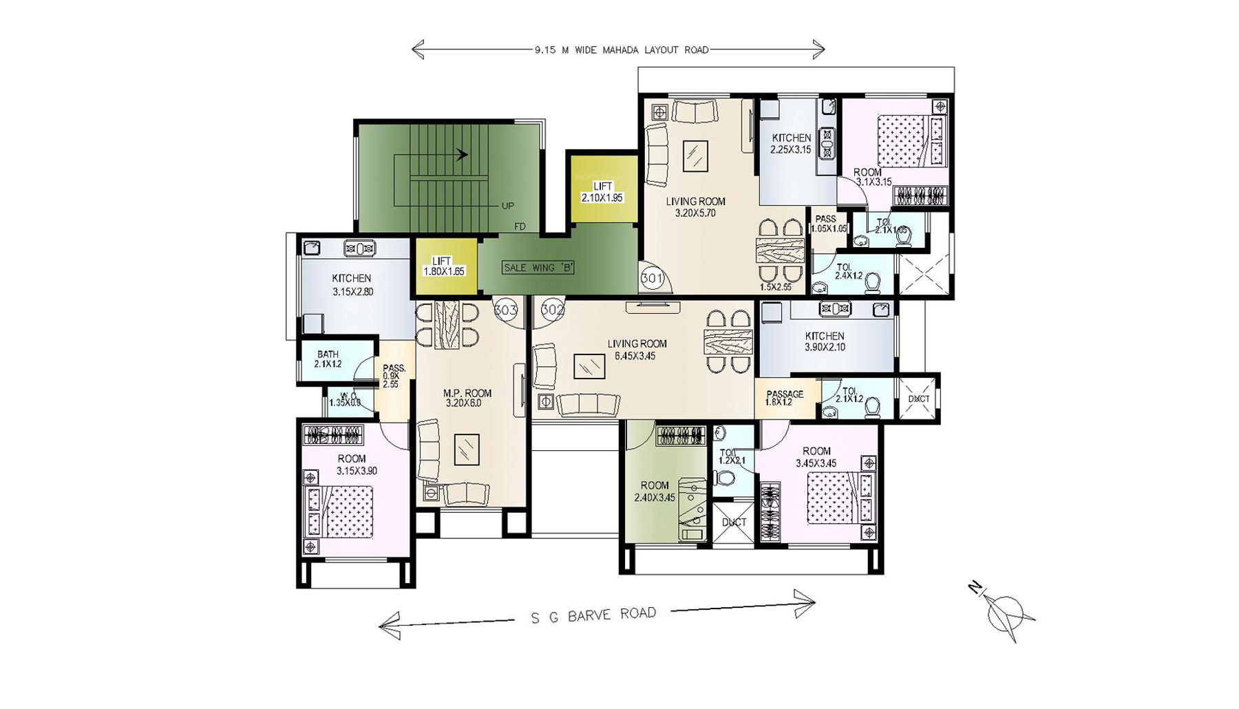 525 sq ft 1 bhk 2t apartment for sale in baba homes ekta for Apartment cluster plans