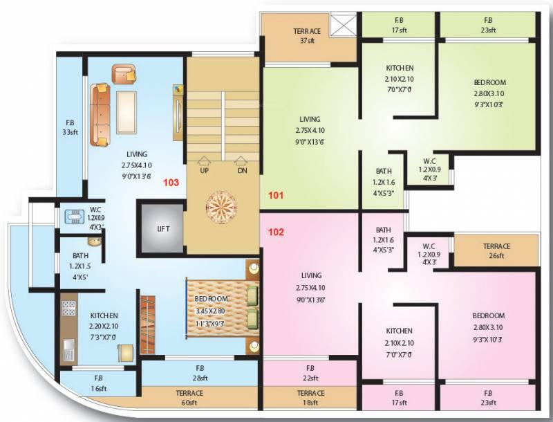 shreeji-constructions niyati Niyati Cluster Plan for 1st Floor
