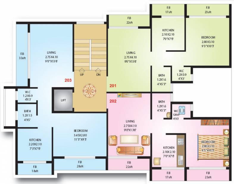 shreeji-constructions niyati Niyati Cluster Plan for 2nd Floor