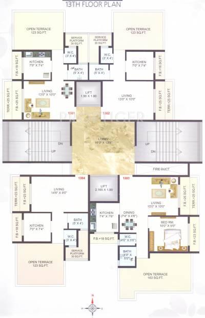 1 2 bhk cluster plan image krishna developer heights for 13th floor design