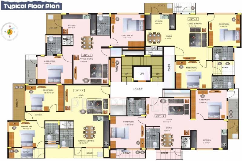 chattles-&-edifice gajamukha-residency Cluster Plan